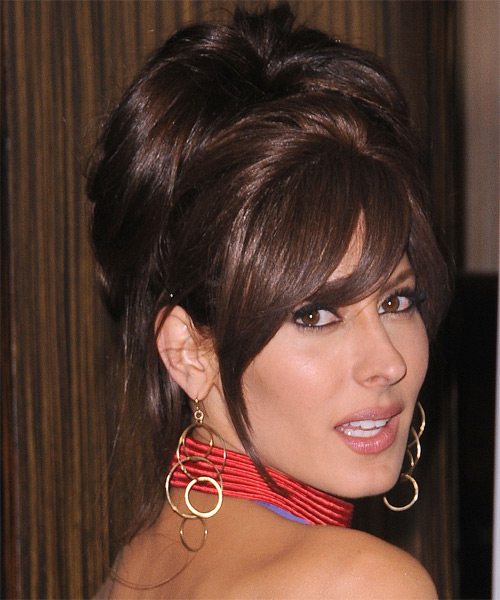 Kerri Kasem Straight Formal Updo Hairstyle with Side Swept Bangs - Dark Brunette (Mocha) Hair Color - side view