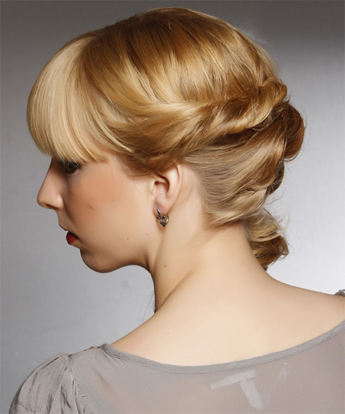 Curly Formal Half Up Hairstyle with Blunt Cut Bangs - Dark Blonde (Honey) Hair Color - side view
