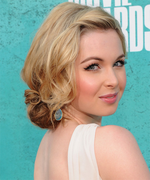 Kirsten Prout Casual Curly Updo Hairstyle - Medium Blonde - side view