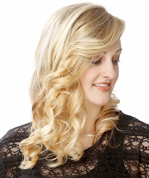Long Curly Formal Hairstyle - Light Blonde (Golden) Hair Color - side view