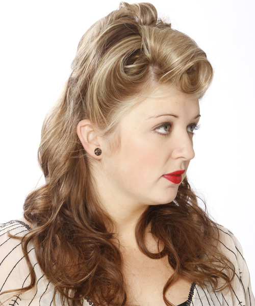 Formal Curly Half Up Hairstyle - Medium Blonde (Champagne) - side view 1