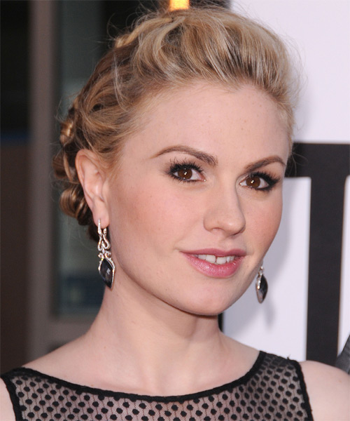 Anna Paquin Updo Long Straight Casual Braided - Medium Blonde (Golden) - side view