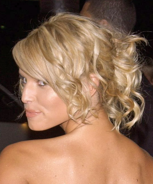 Jessica Simpson Curly Formal Updo Hairstyle with Side Swept Bangs - Light Blonde Hair Color - side view