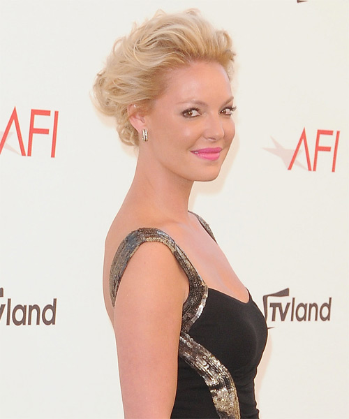 Katherine Heigl Updo Medium Curly Formal  - Medium Blonde (Golden) - side view