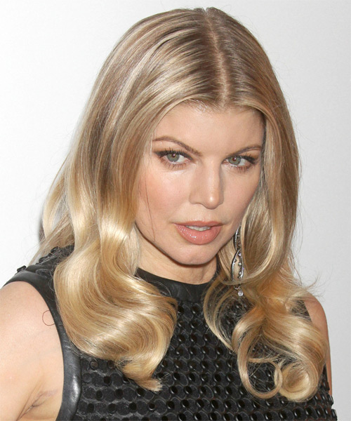 Fergie Long Wavy Formal Hairstyle - Dark Blonde (Golden) Hair Color - side view