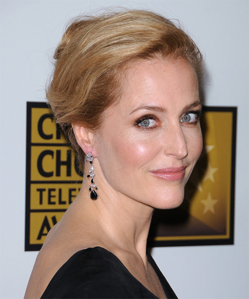 Gillian Anderson Updo Long Straight Casual  - Medium Red (Copper) - side view