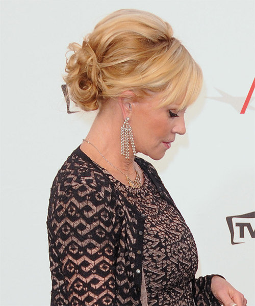 Melanie Griffith Curly Formal Updo Hairstyle - Medium Blonde (Golden) Hair Color - side view