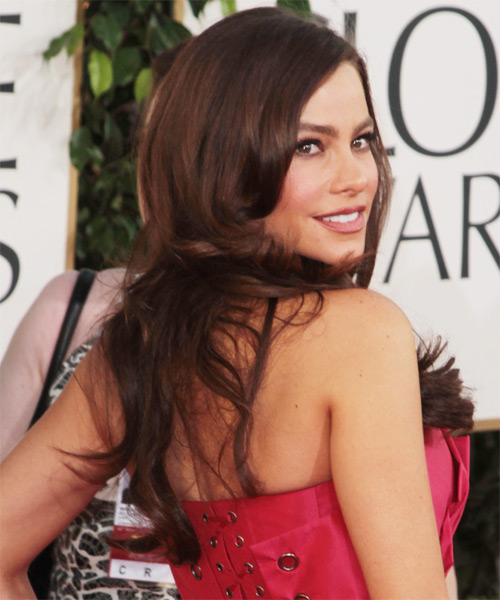 Sofia Vergara Long Wavy Hairstyle - Dark Brunette (Chocolate) - side view