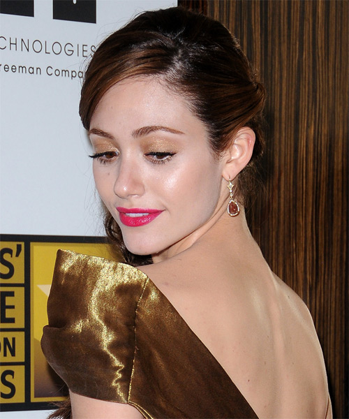 Emmy Rossum Formal Curly Half Up Hairstyle - Dark Brunette (Chocolate) - side view
