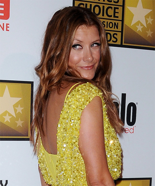 Kate Walsh Long Wavy Casual Hairstyle - Medium Red (Copper) Hair Color - side view