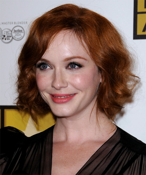 Christina Hendricks Curly Formal Updo Hairstyle with Side Swept Bangs - Dark Red (Copper) Hair Color - side view