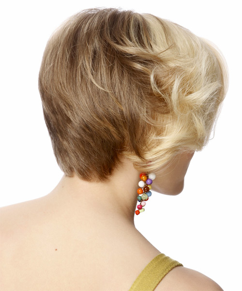 Short Straight Formal Bob Hairstyle - Light Blonde (Caramel) - side view