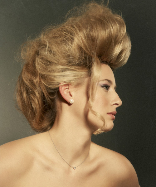 Alternative Straight Emo Updo Hairstyle - Dark Blonde (Golden) - side view