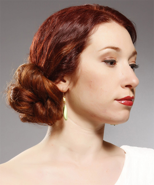 Long Curly Formal Updo Hairstyle Dark Bright Red Hair Color
