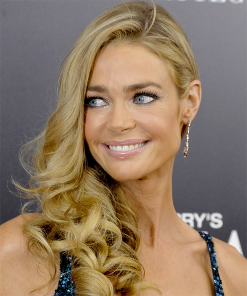 Denise Richards Long Wavy Formal Hairstyle Dark Golden