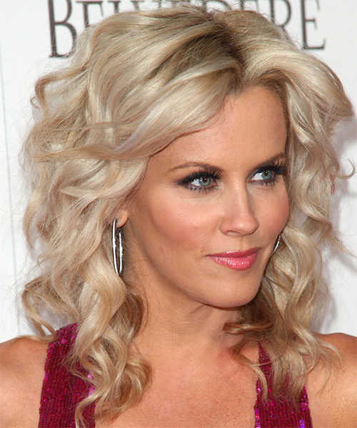 Jenny McCarthy Medium Wavy Shag Hairstyle - Light Blonde (Ash) - side view