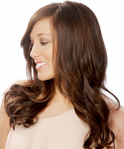 Long Straight Formal  - Dark Brunette (Chocolate) - side view