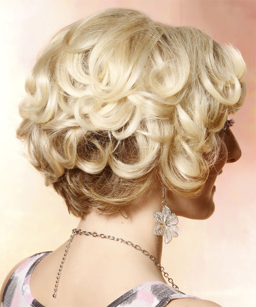 Short Curly Formal Bob with Side Swept Bangs - Light Blonde (Golden) - side view