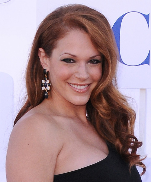 Amanda Righetti Long Wavy Formal Hairstyle - Dark Red (Copper) Hair Color - side view