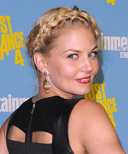 Jennifer Morrison Curly Casual Updo Braided Hairstyle - Light Blonde (Golden) Hair Color - side view
