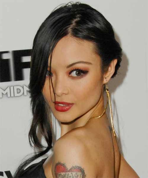 Tila Tequila Updo Long Straight Casual Updo Hairstyle - Black Hair Color - side view