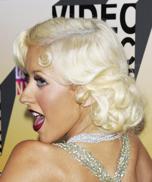 Christina Aguilera Medium Wavy Formal Hairstyle - Light Blonde (Platinum) Hair Color - side view