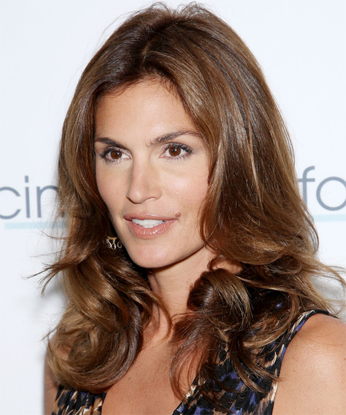 Cindy Crawford Long Wavy Formal Hairstyle - Medium Brunette (Chocolate) Hair Color - side view