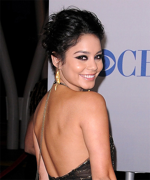 Vanessa Hudgens Curly Casual Updo Hairstyle - Black Hair Color - side view