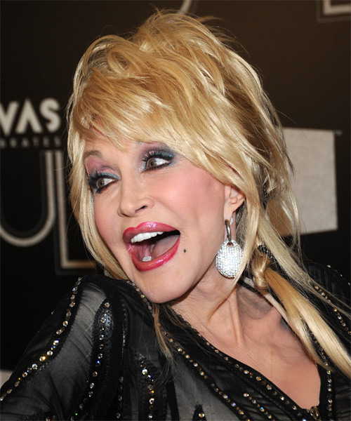 Dolly Parton Updo Long Straight Casual  with Side Swept Bangs - Light Blonde (Platinum) - side view