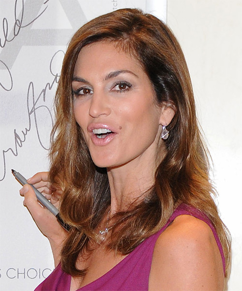 Cindy Crawford Long Straight Formal Hairstyle - Medium Brunette (Auburn) Hair Color - side view