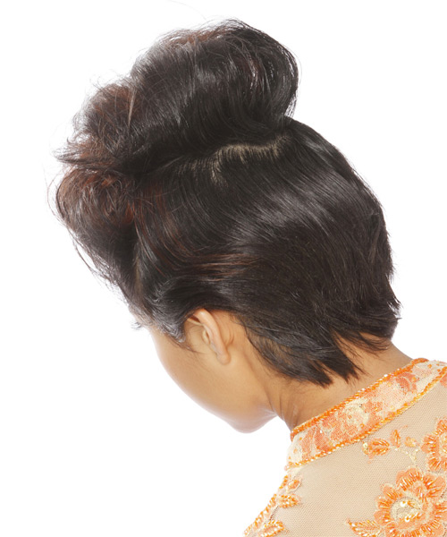 Updo Long Straight Casual  - Black - side view