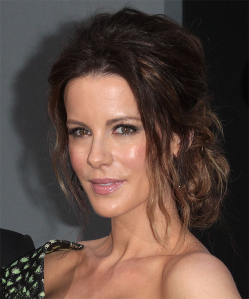 Kate Beckinsale Curly Casual Updo Hairstyle - Medium Brunette Hair Color - side view
