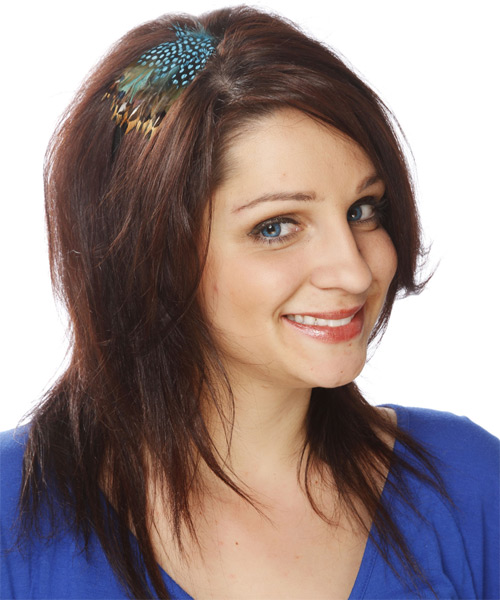 Long Straight Casual Hairstyle - Medium Brunette (Auburn) - side view 1