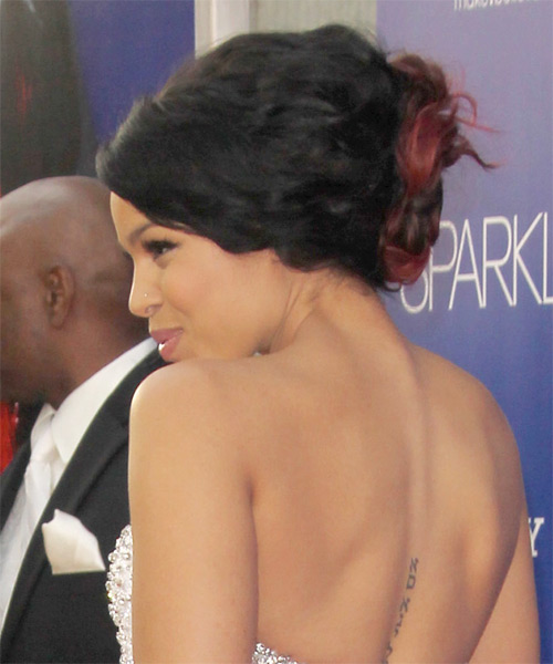 Jordin Sparks Curly Formal Updo Hairstyle with Side Swept Bangs - Black Hair Color - side view