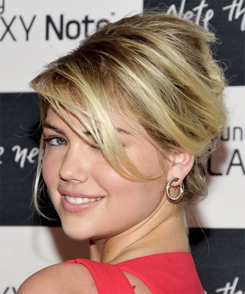 Kate Upton Straight Casual Updo Hairstyle with Side Swept Bangs - Medium Blonde (Ash) Hair Color - side view