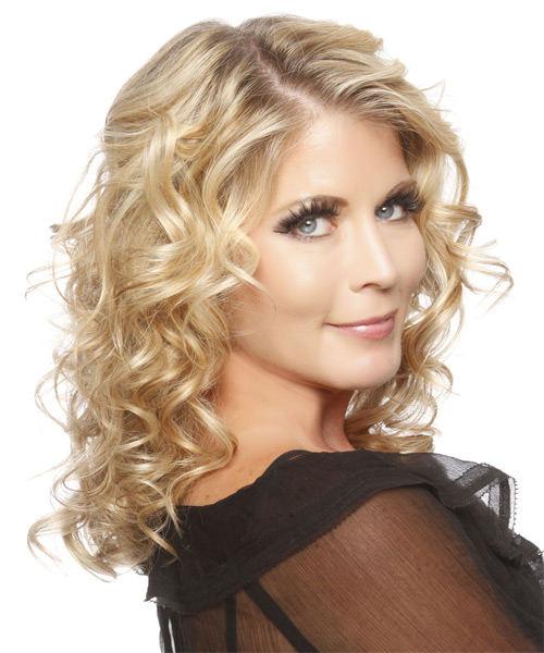 Medium Curly Formal Hairstyle (Golden) - side view 1