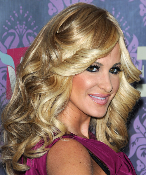 Kim Zolciak Long Wavy Hairstyle - Medium Blonde (Golden) - side view