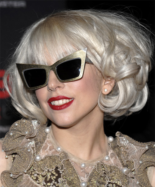 Lady Gaga Medium Wavy Formal Bob Hairstyle - Light Blonde (Platinum) Hair Color - side view