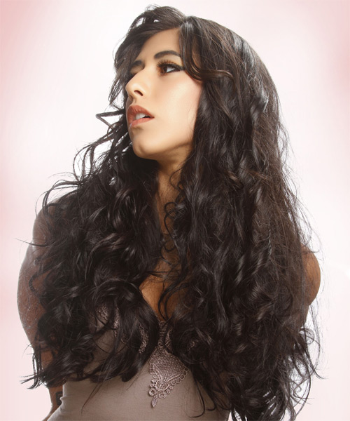 Long Curly Casual Hairstyle - Dark Brunette - side view 1