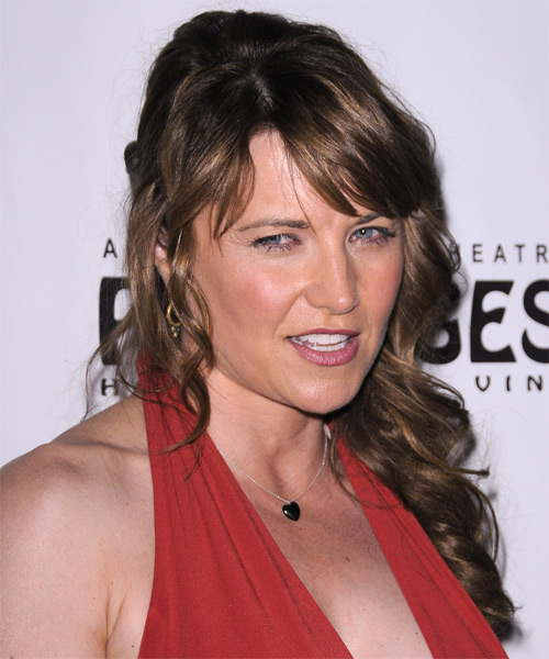Lucy Lawless Curly Casual Half Up Hairstyle with Side Swept Bangs - Light Brunette Hair Color - side view