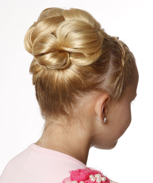 Formal Straight Updo Hairstyle - Light Blonde (Golden) - side view