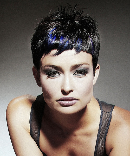Short Straight Alternative Hairstyle with Razor Cut Bangs - Black (Ash) Hair Color - side view
