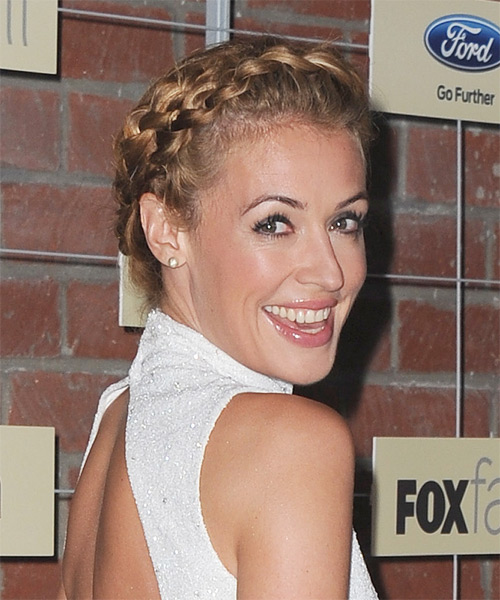 Cat Deeley Casual Curly Updo Hairstyle - Dark Blonde - side view 1