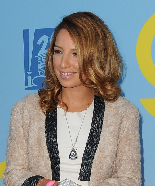 Vanessa Lengies Medium Wavy Formal Hairstyle - Dark Blonde (Copper) Hair Color - side view