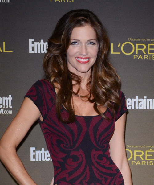 Tricia Helfer Long Wavy Hairstyle - Dark Brunette (Auburn) - side view 1