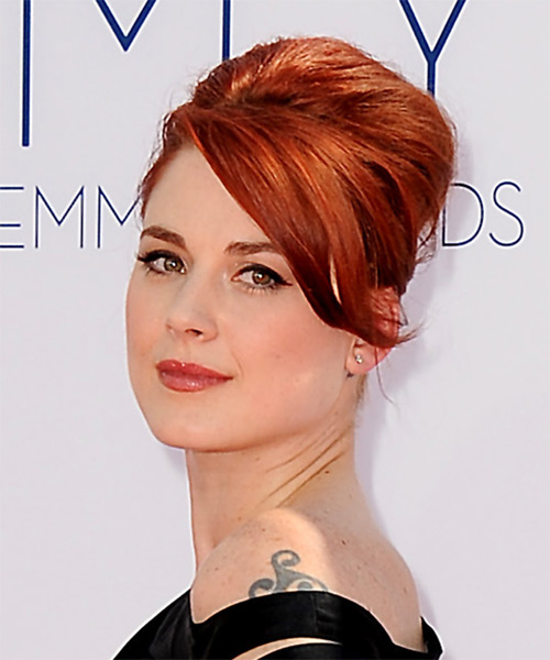Alex Breckinridge Updo Long Straight Formal Updo Hairstyle - Medium Red Hair Color - side view
