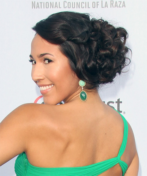 Marisa Quinn Updo Long Curly Formal Wedding - Dark Brunette - side view