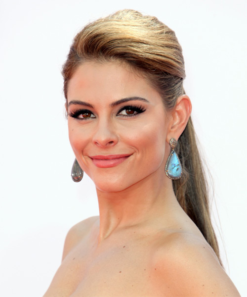 Maria Menounos Formal Straight Updo Hairstyle - Medium Brunette (Caramel) - side view 1
