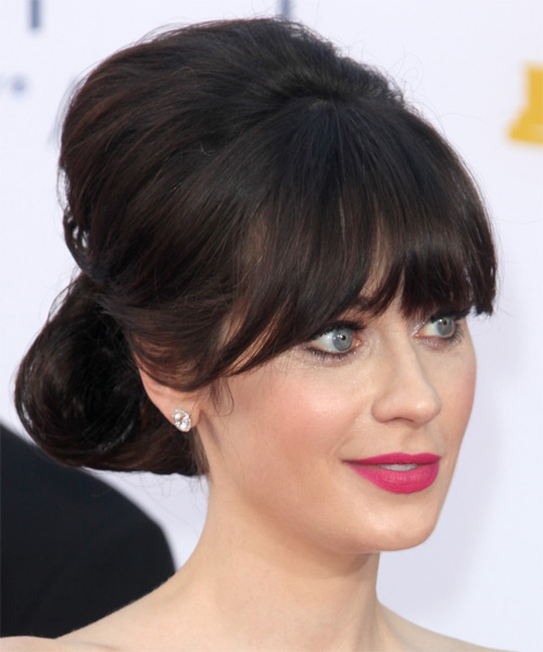 Zooey Deschanel Straight Formal Updo Hairstyle with Blunt Cut Bangs - Dark Brunette (Mocha) Hair Color - side view