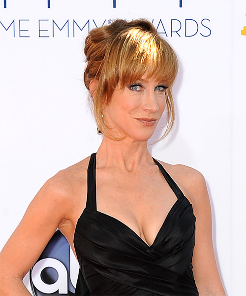Kathy Griffin Updo Long Straight Formal Wedding with Blunt Cut Bangs - Dark Blonde (Copper) - side view